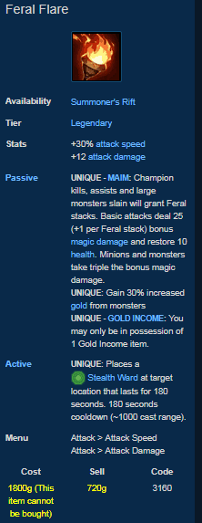 feral flare is one of the best removed items in league of legends